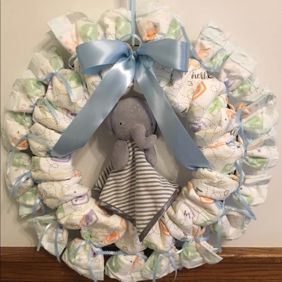 Wall Art Baby Diaper Wreath Or Wall Decor Baby Shower Poshmark